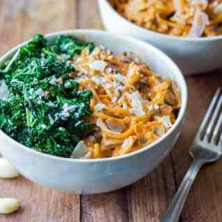 Creamy Mushroom Pasta with Garlic Kale
