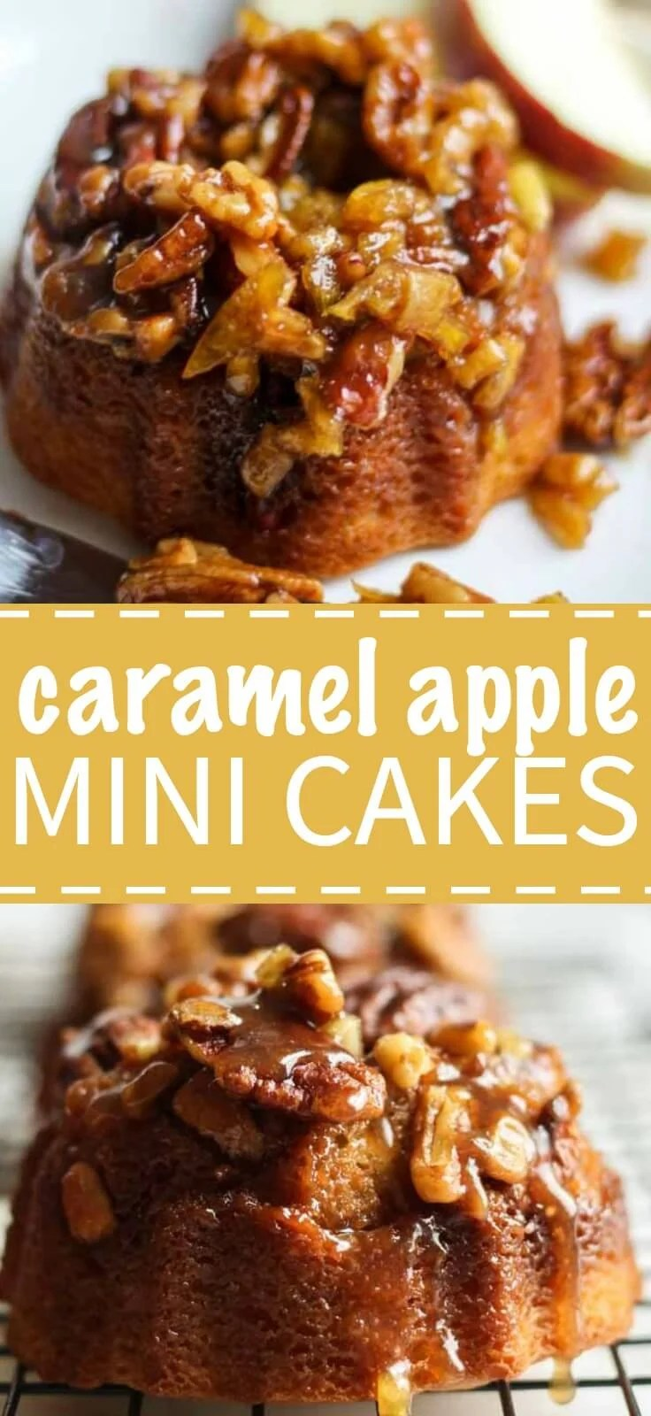 Individual fall-inspired cakes that you will be so proud to serve your family and friends at your next party. These adorable caramel apple mini cakes are made in mini bundt pans and they're filled with so much flavor (cinnamon, apples, caramel, oh my!).