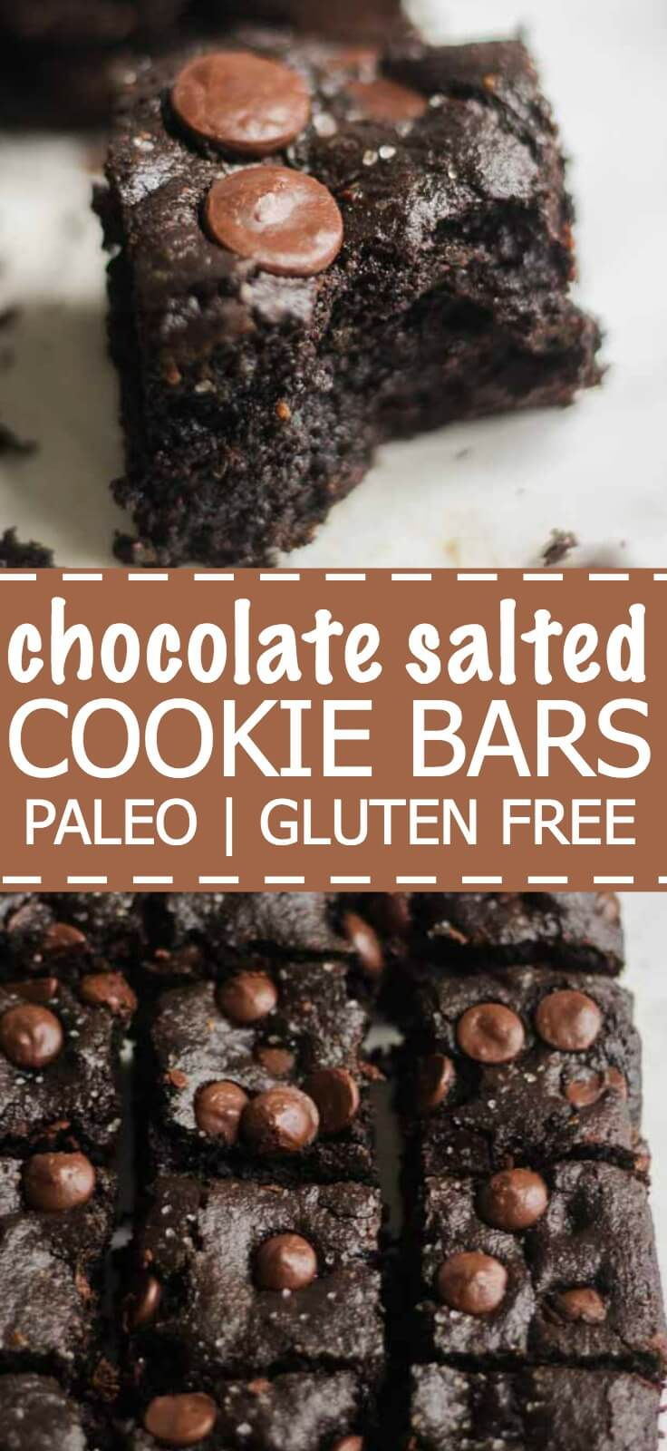 thick and chewy paleo chocolate salted cookie bars! these chocolate bars are naturally gluten free and are so good!