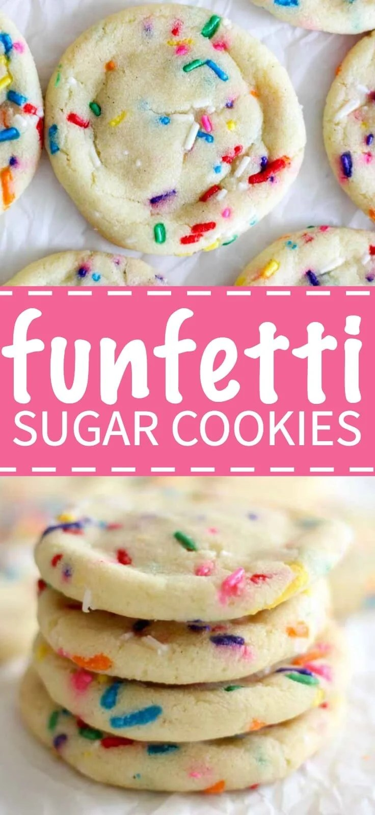 Sprinkles make everything (and life) better. These funfetti sugar cookies are a sprinkle dream come true. They taste just like your favorite Funfetti cake mix in cookie form.