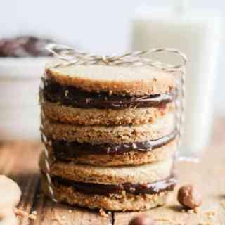 Hazelnut Shortbread Sandwiches with Nutella Ganache