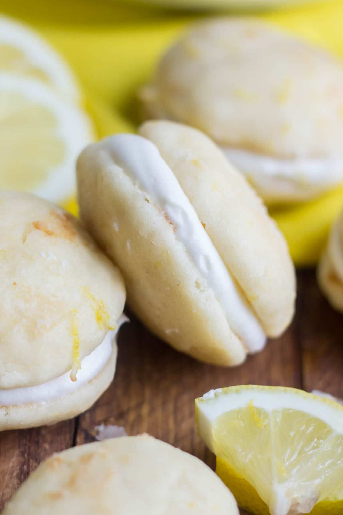 Sweet and tangy, these lemon whoopie pies are a cloud-like dessert you won't want to miss this spring. True to a whoopie pie, these are light and fluffy cake-like cookies surrounded by sweet cream cheese frosting. Perfect for spring celebrations!