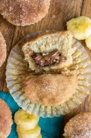 Moist and delicious, these nutella filled banana muffins are the best breakfast or snack recipe. They're easy to make with real bananas and filled with nutella. Once you bake them, coat with cinnamon sugar for a delicious topping.