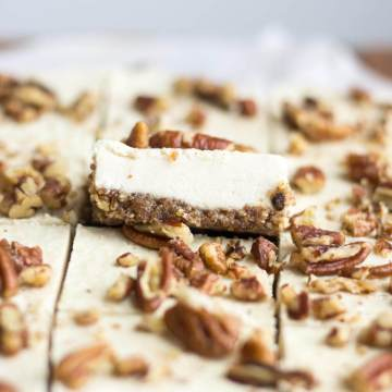 Vegan cheesecake is so much easier than you think! This no bake dessert recipe is healthy, raw and paleo. The crust is made with dates and pecans and the smooth and creeamy filling is made wit pecans, coconut milk, coconut oil and lemon juice. It's so healthy and easy to make, everyone will love it.