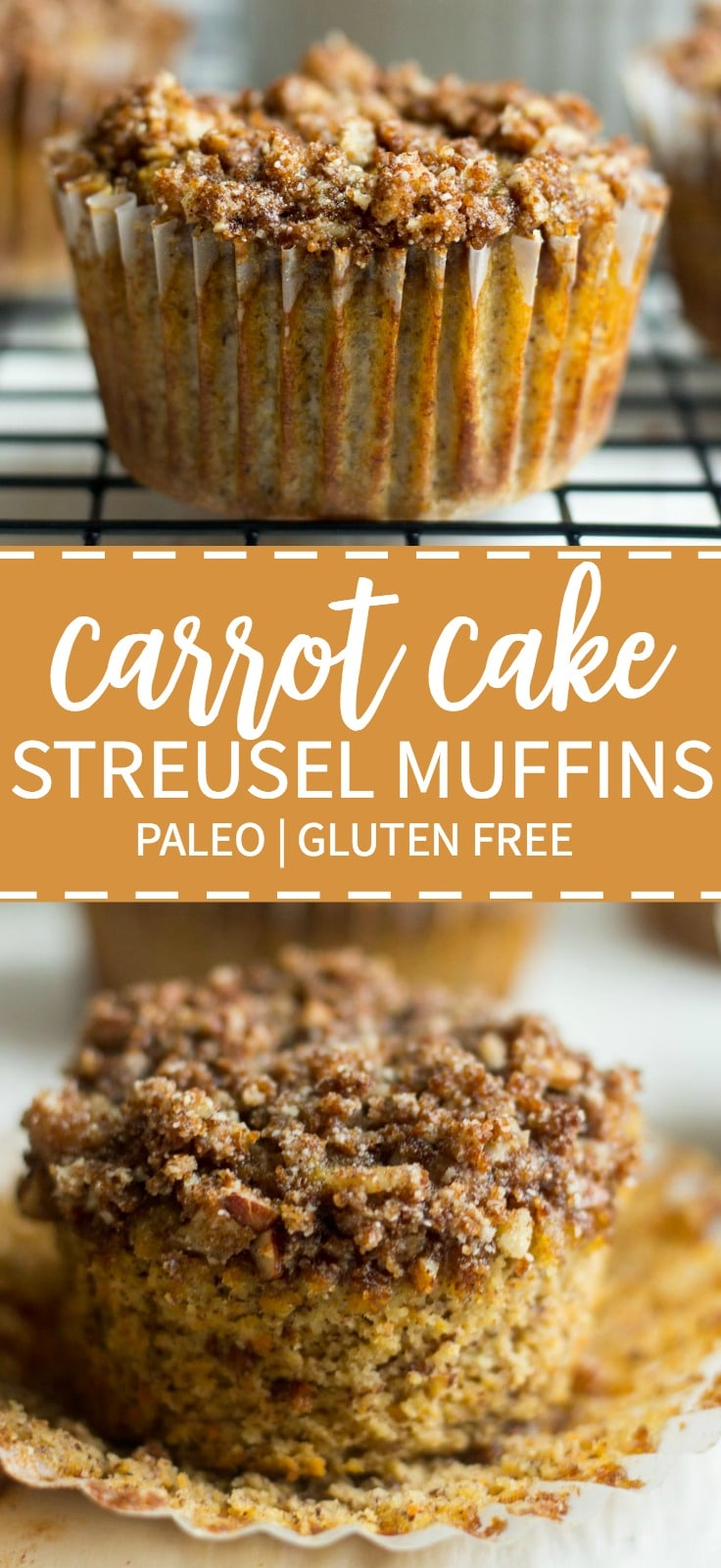 The best Easter recipe, these paleo cinnamon streusel carrot muffins have a layer of pecan and cinnamon topping piled on top. The carrot muffin base is filled with carrots and more cinnamon and sweetened with ripe bananas. This recipe is so moist and flavorful! You're friends and family won't even know it's paleo and gluten-free on Easter morning!