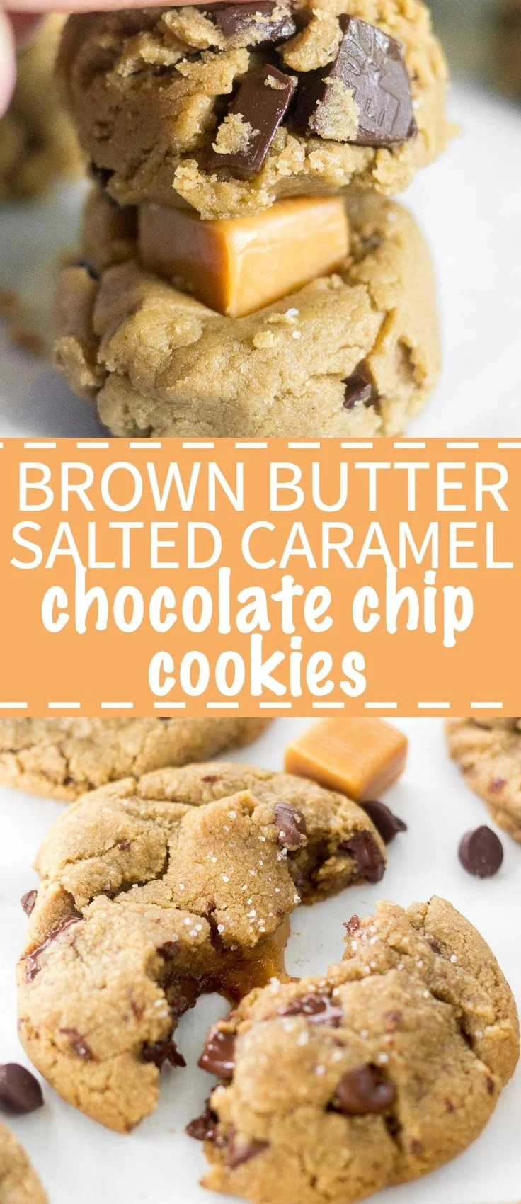 Brown Butter Salted Caramel Chocolate Chip Cookies are a mouthful of flavor! With a soft and chewy texture, chocolate chips and chocolate chunks, plus a gooey caramel filling, this chocolate chip cookie recipe will satisfy all cookie lovers.