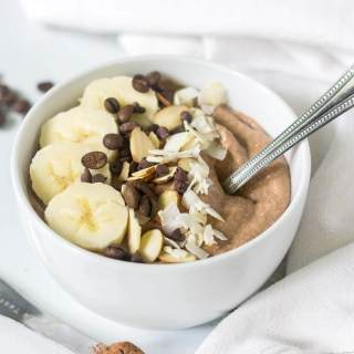 This mocha protein smoothie bowl has all your favorite breakfast flavors in one healthy bowl! It's rich, creamy and filled with chocolate and protein. You will love how easy it is to make!