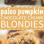 Paleo Pumpkin Chocolate Chunk Blondies are a healthier alternative to all your pumpkin desserts! These paleo blondies are thick and chewy and filled with pumpkin and extra large chocolate chunks.
