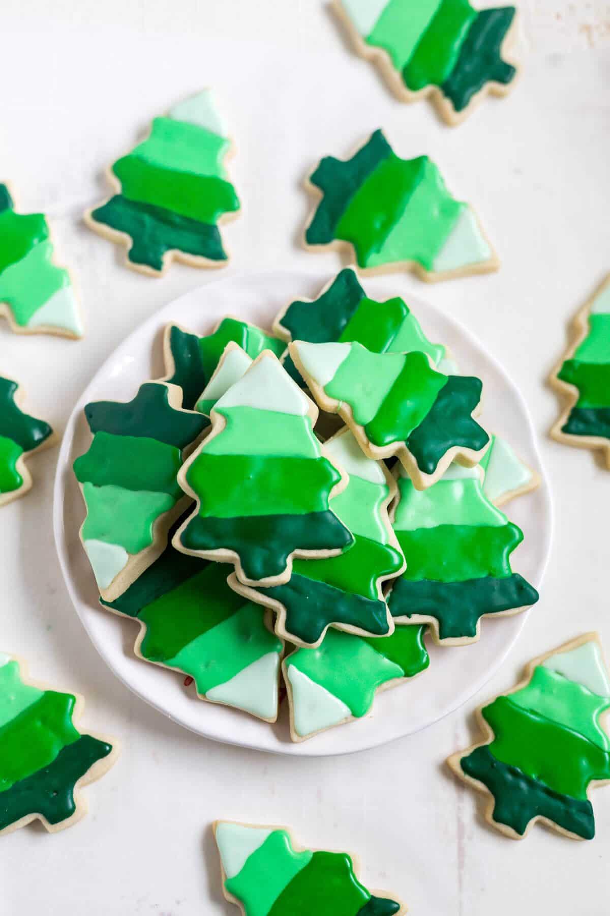 Ombré Christmas Tree Cookies