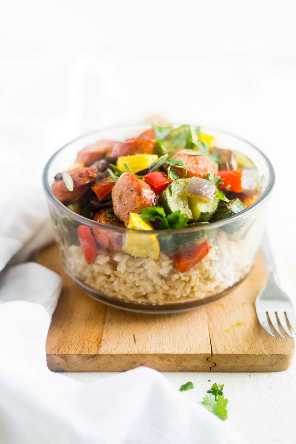 sausage and veggies with brown rice