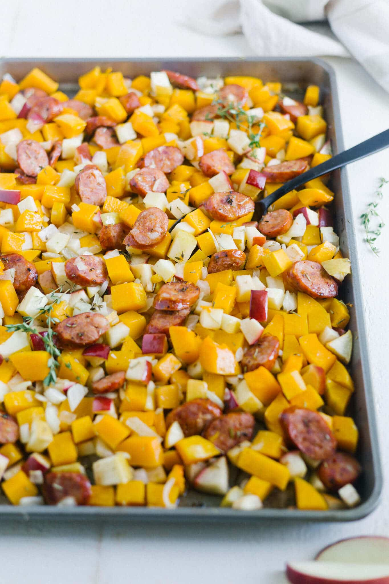 roasted butternut squash and apples with sausage