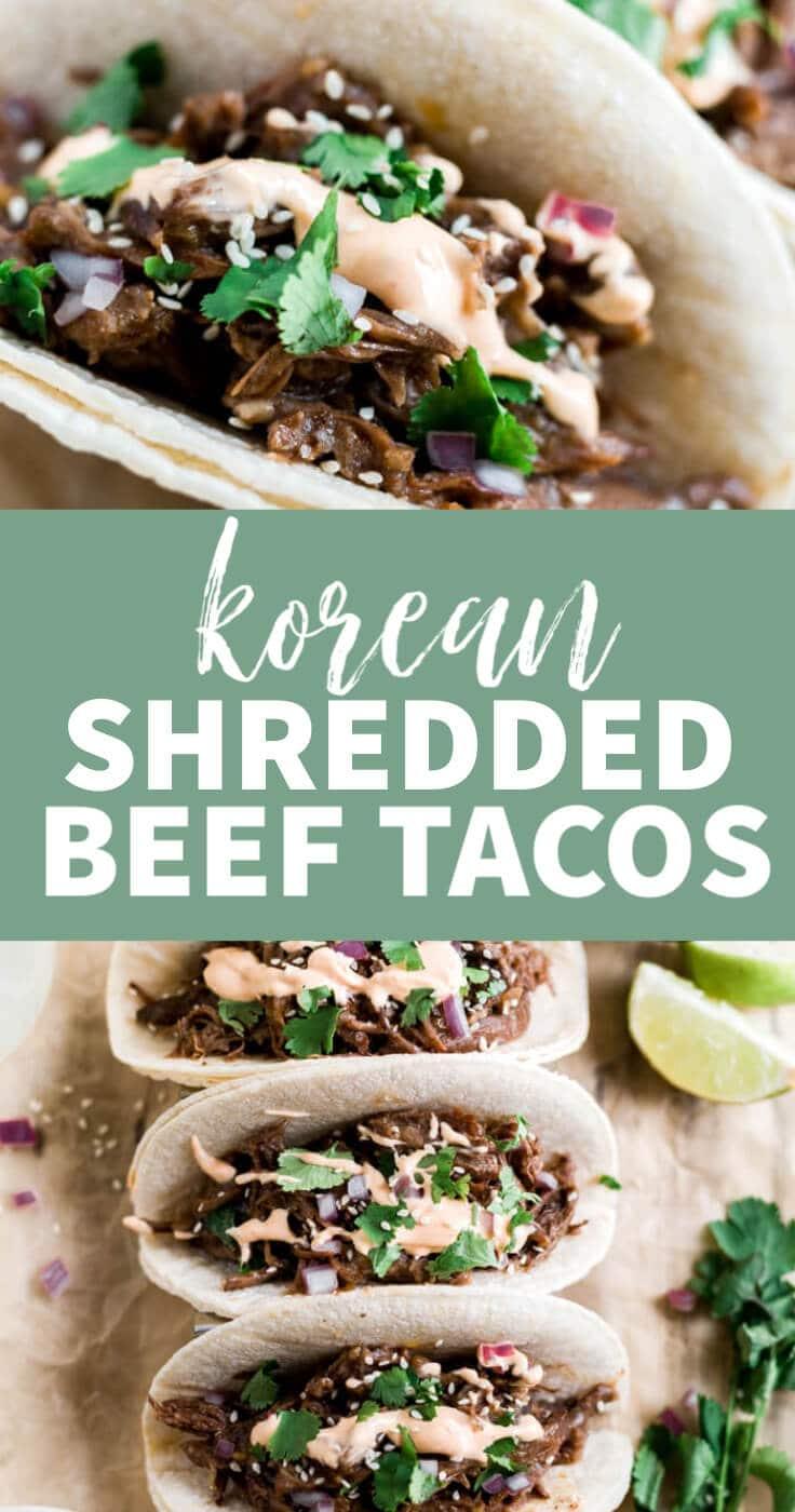 korean shredded beef tacos