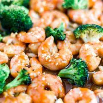 honey garlic shrimp on a sheet pan with broccoli