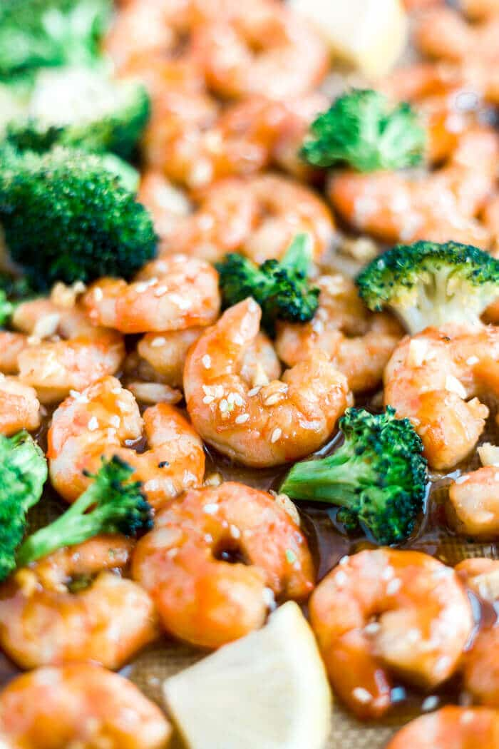honey garlic shrimp on a sheet pan with broccoli