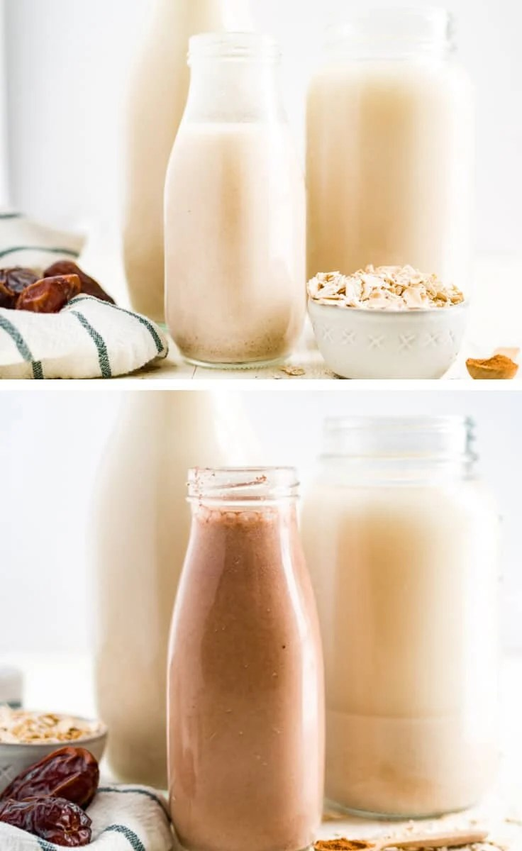 collage image of oat milk and chocolate oat milk