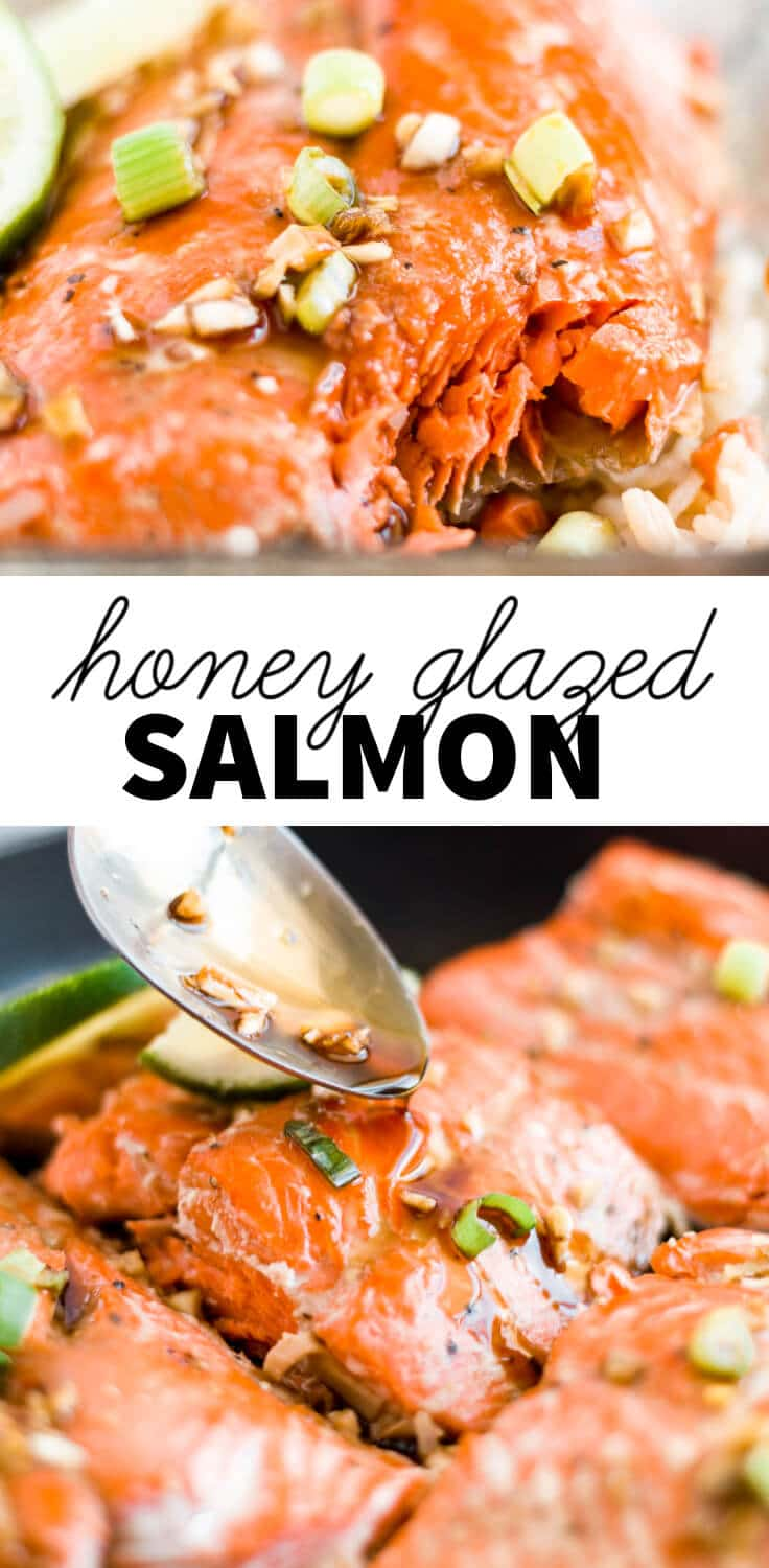 two images of honey glazed salmon with a text overlay