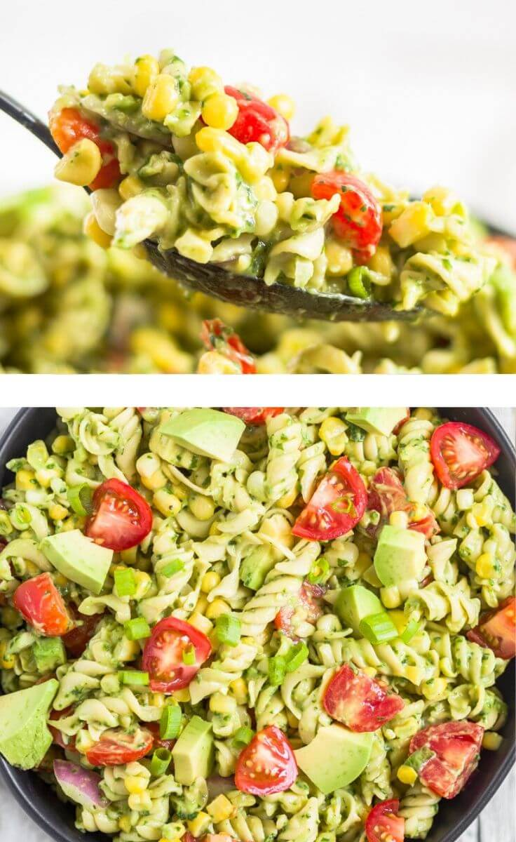 collage of two images of creamy avocado pasta salad