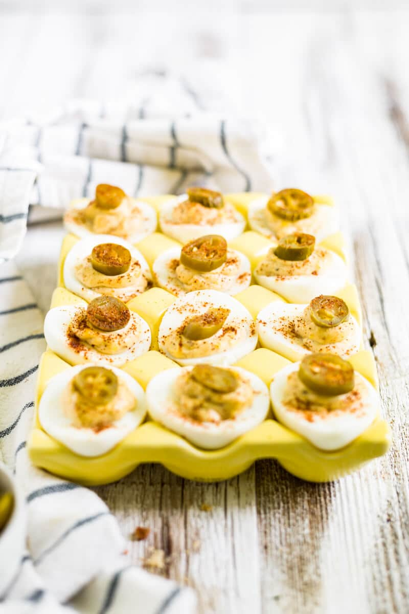 deviled eggs with bacon and jalapeno