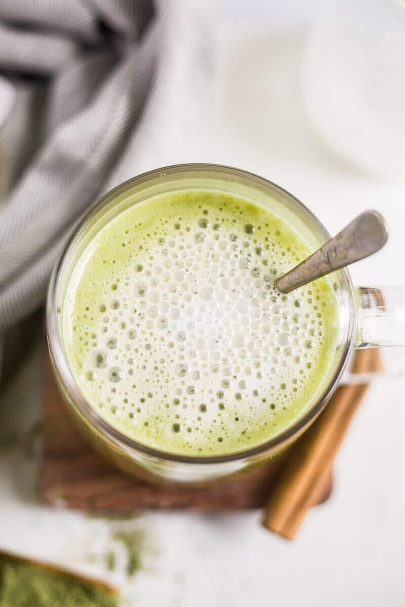 hot collagen matcha latte