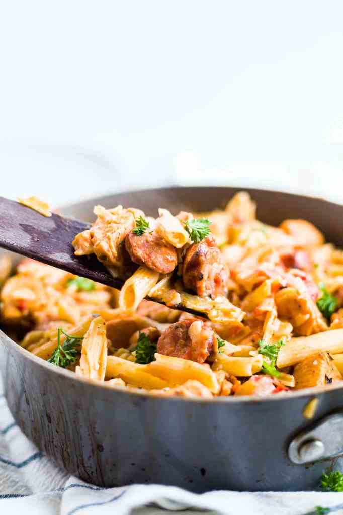 spoonful of creamy cajun chicken pasta