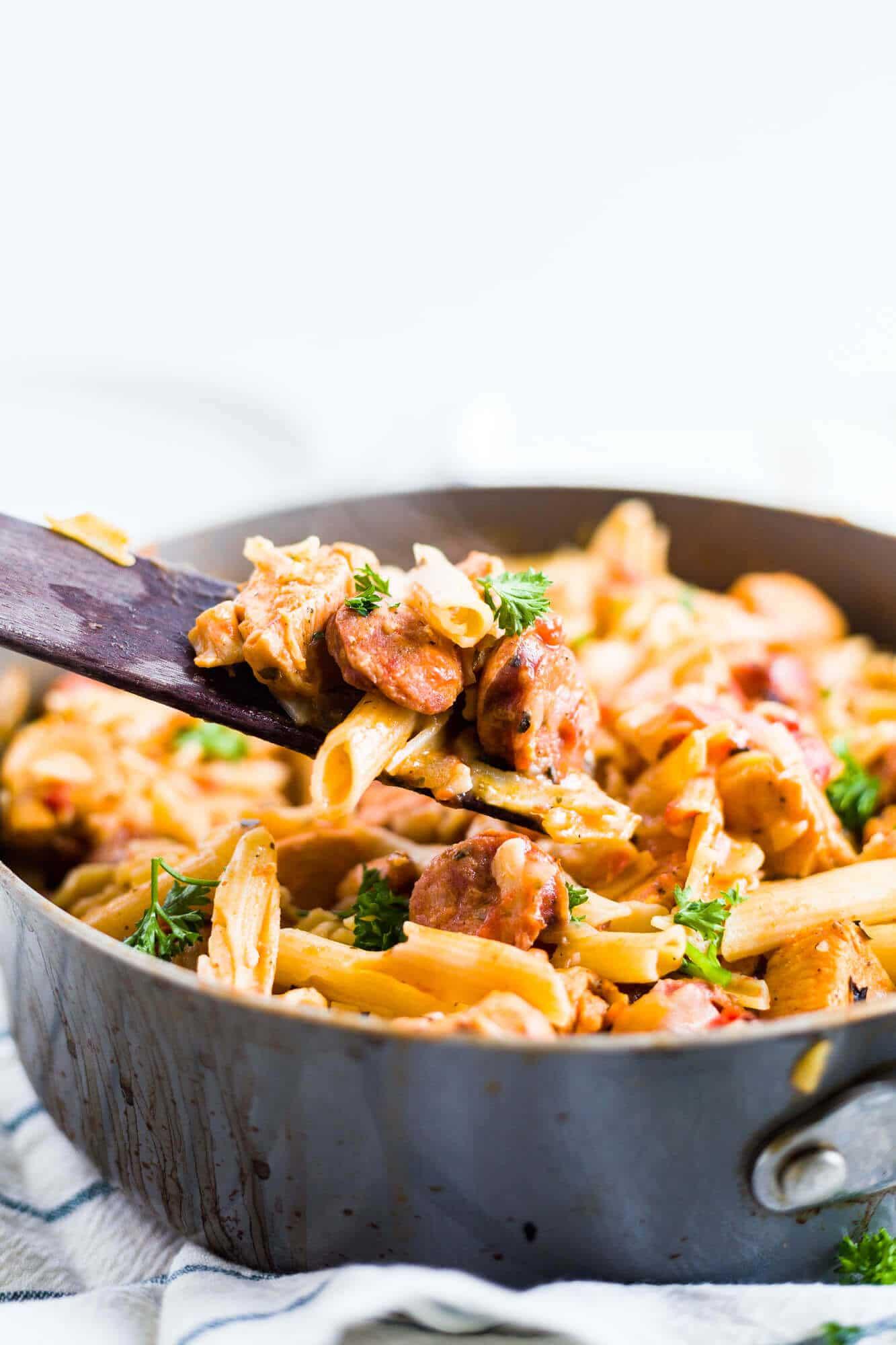 spoonful of creamy cajun chicken pasta