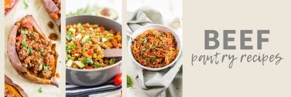 collage of simple pantry recipes made with beef