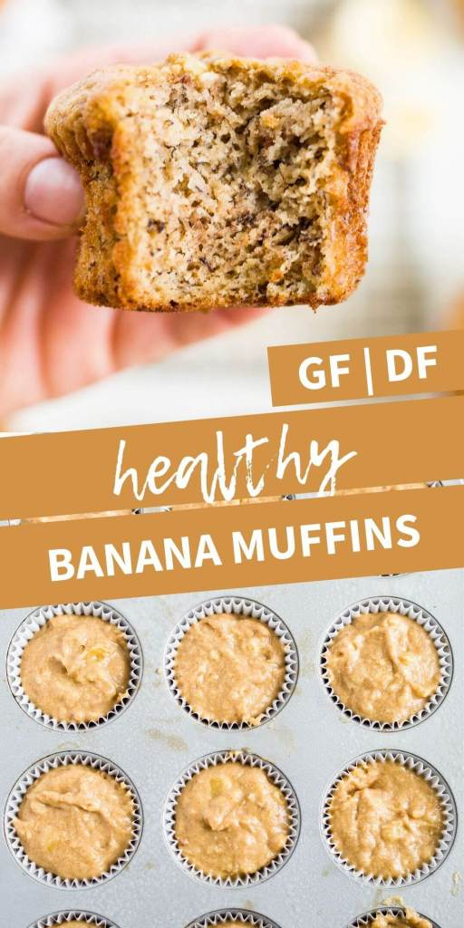 collage of two images of healthy banana muffins and muffin batter