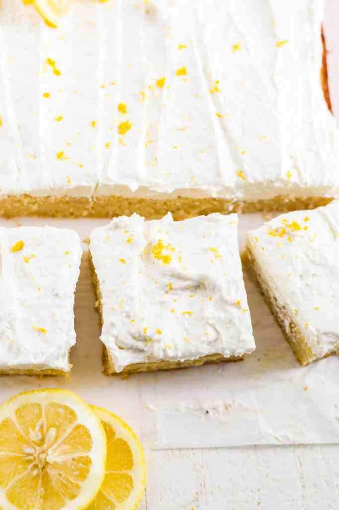 overhead shot of 3 slices of gluten free lemon cake with frosting