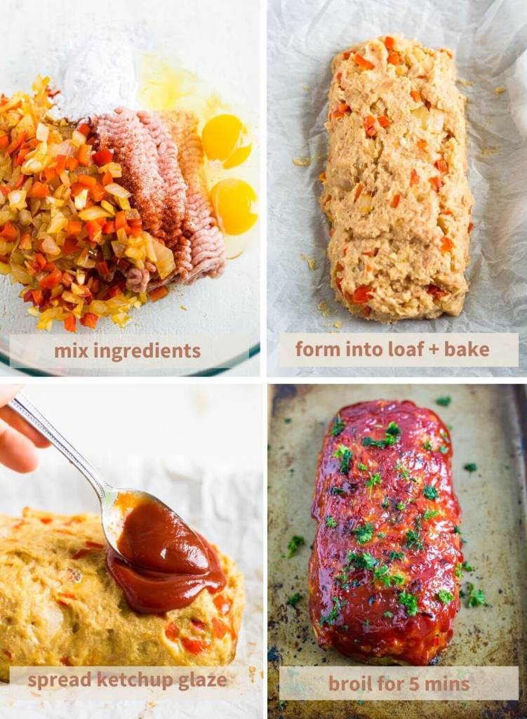 step by step instructions with images on how to make gluten free turkey meatloaf