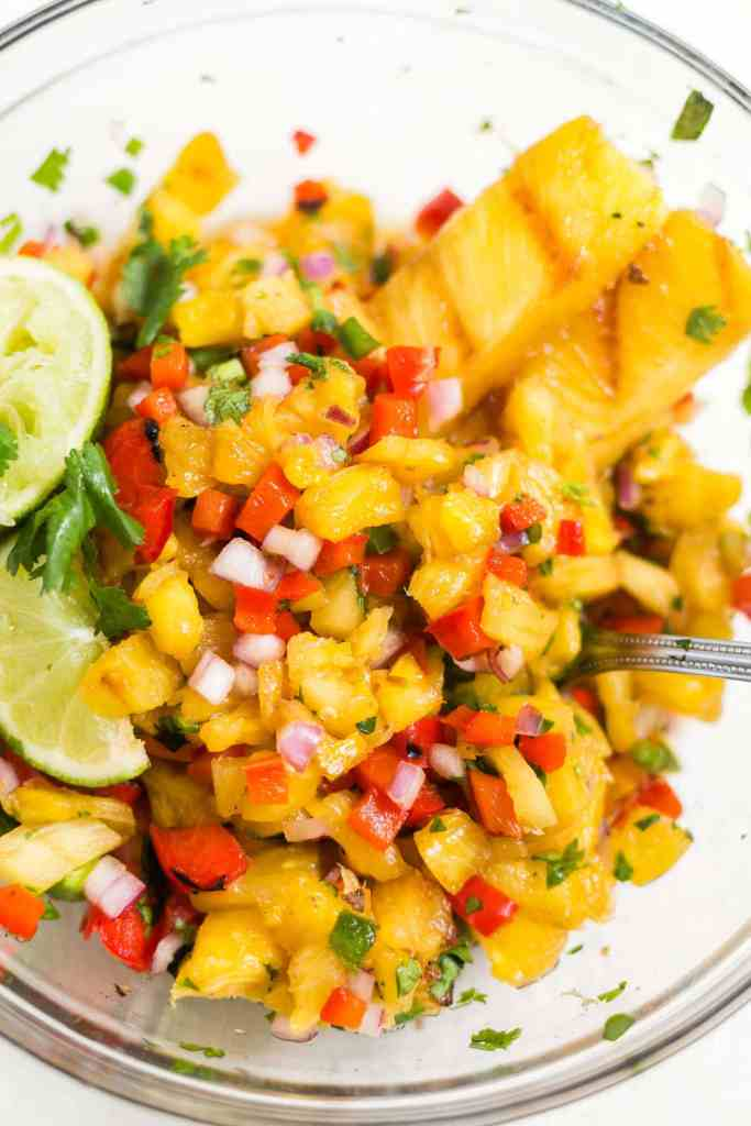 grilled pineapple salsa in a bowl for topping grilled flank steak