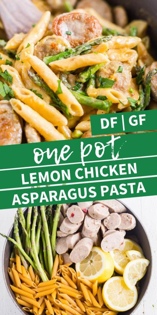 collage for one pot lemon chicken asparagus pasta