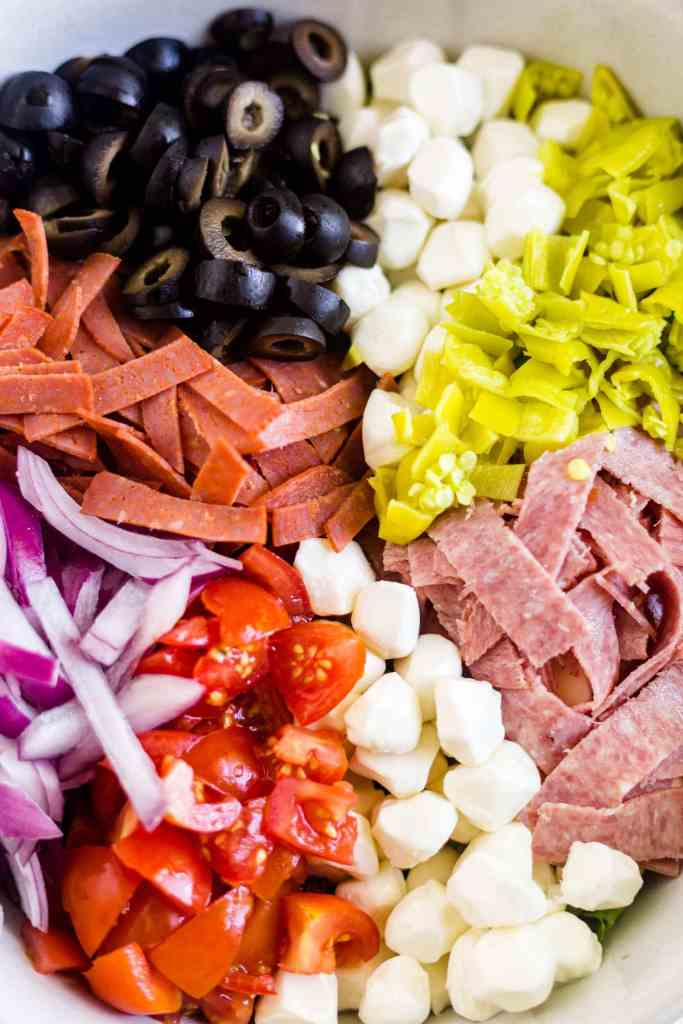 antipasto salad ingredients in a bowl