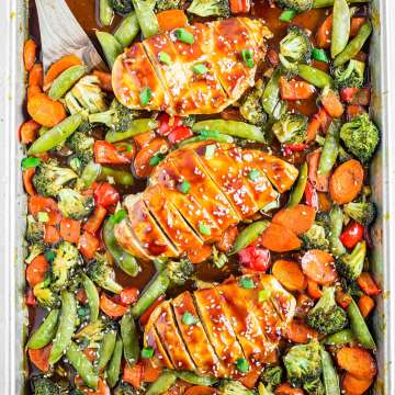 3 pieces of healthy chicken teriyaki on a sheet pan surround by mixed roasted vegetables