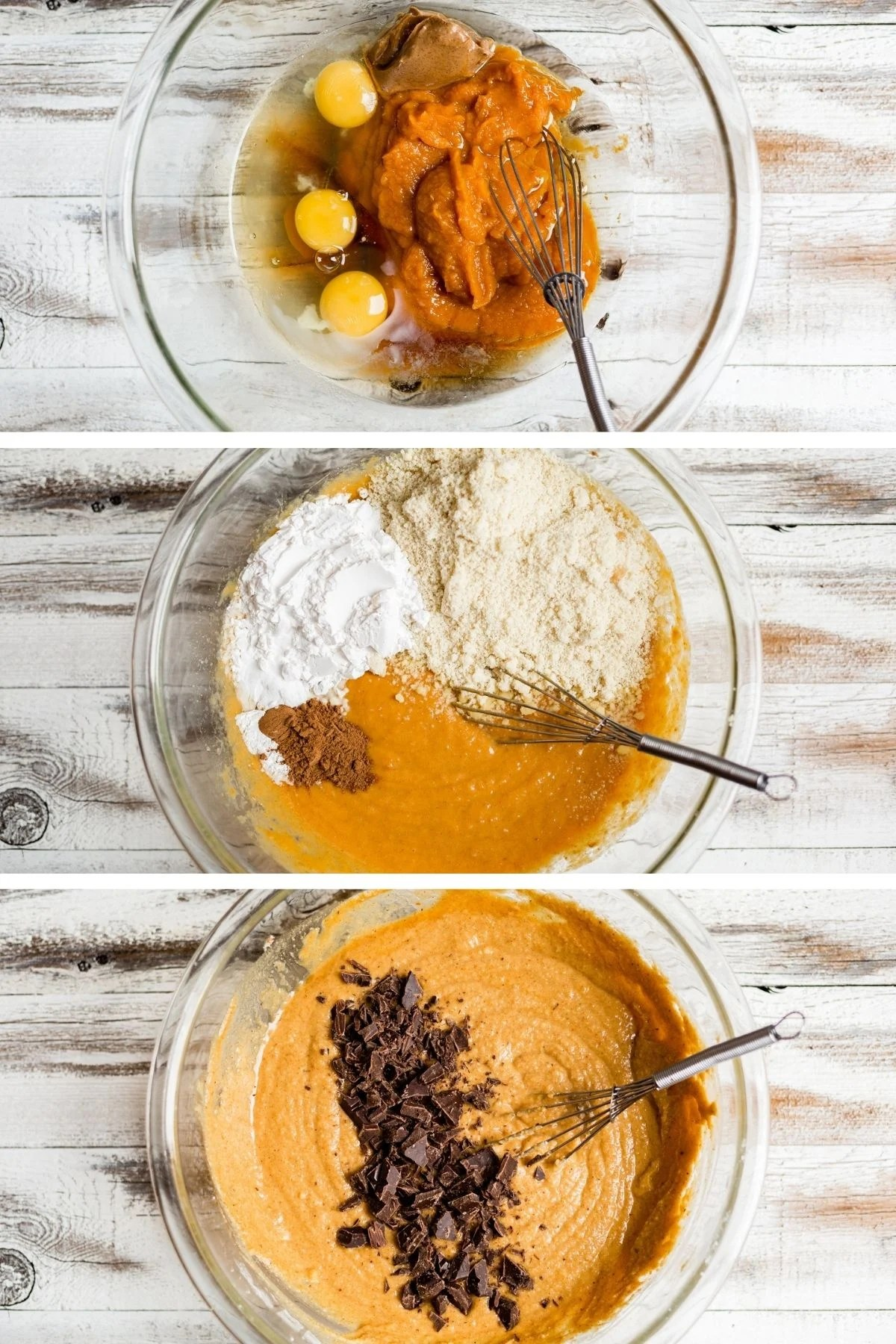 step by step pictures of how to make one bowl healthy pumpkin muffins