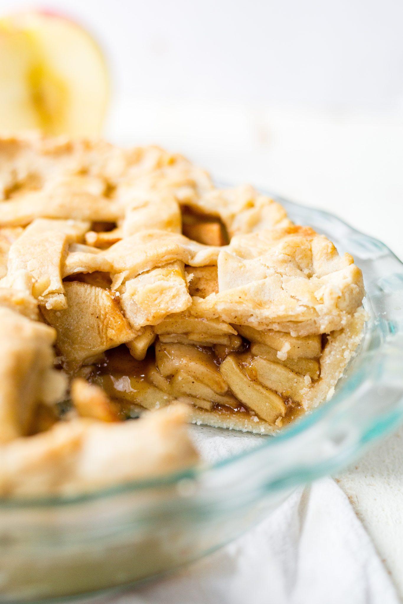 the inside of a piece of gluten free apple pie recipe