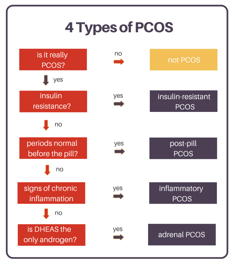 flow chart explaining the types of pcos and how to narrow down what you have