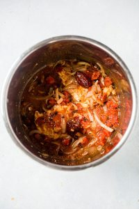 cooked chicken tinga ingredients in the instant pot