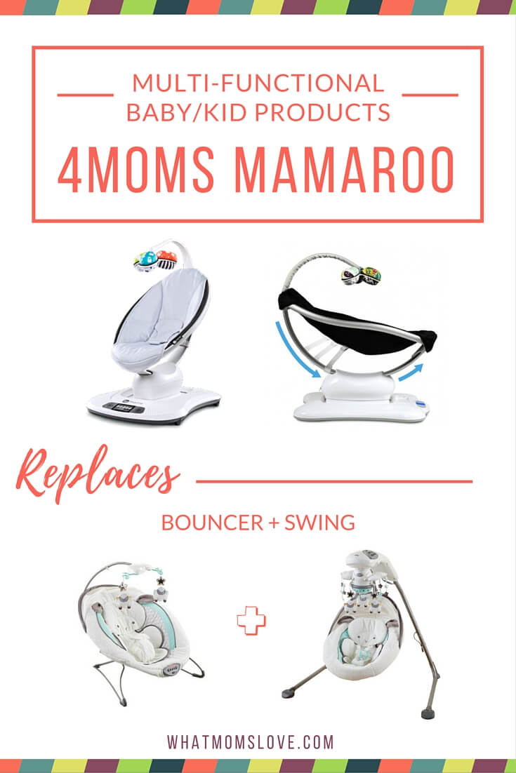 Buy less baby stuff with these multi-functional products. 4moms Mamaroo - a bouncer and swing in one.