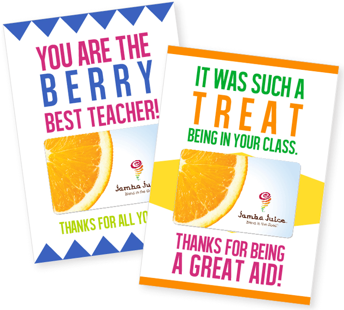 Teacher Gift Card Printables - Smoothie