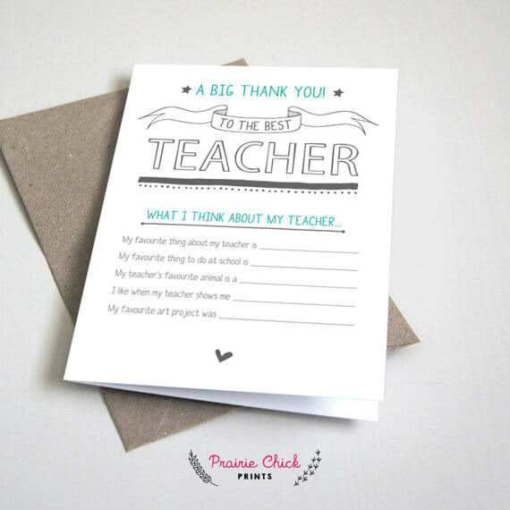Teacher Gift - Thank You Card