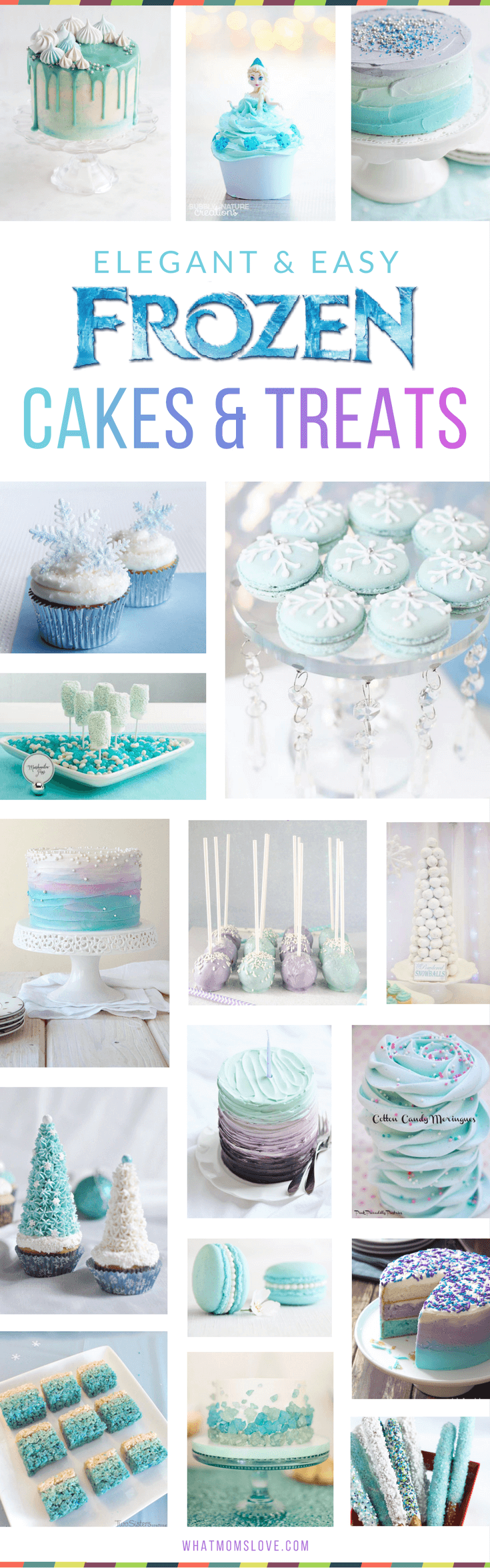 Disney Frozen Cake Ideas for Girls Birthday Party! Easy and elegant ideas that you can actually recreate for a perfect Anna and Elsa themed party - simple homemade cakes, cupcakes, pops, treats, favors and more!