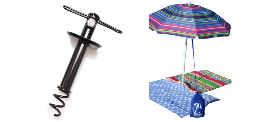 Beach Guide with Kids. Tips and Tricks. Umbrella Sand Anchor Auger. Noblo Umbrella Buddy.
