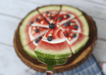 Patriotic Watermelon Pizza. A Red, White and Blue Crowd-Pleaser For Your 4th Of July Celebration