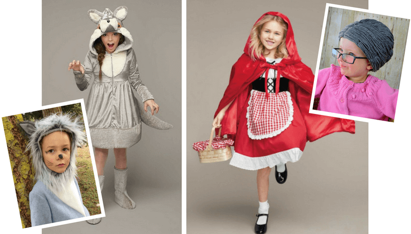 Creative Halloween Costumes for Siblings - Little Red Hiding Hood, Wolf, Grandma