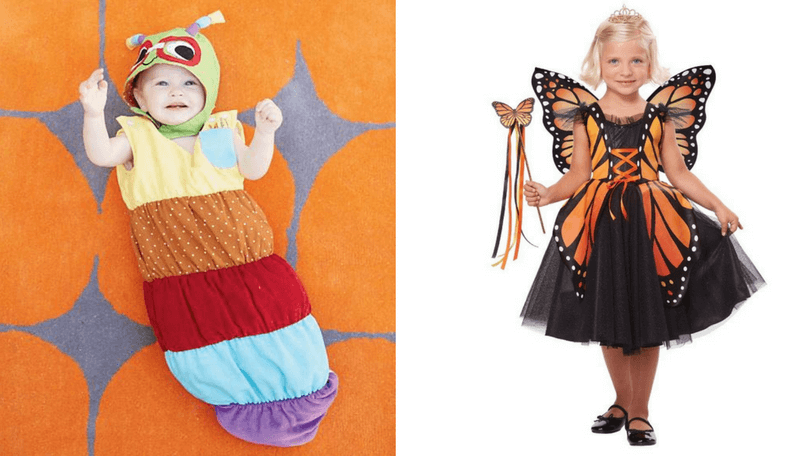 Creative Halloween Costumes for Siblings - Caterpillar and Butterfly