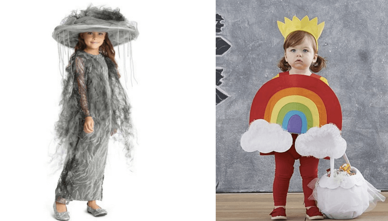 Creative Halloween Costumes for Siblings - Rain cloud and Rainbow