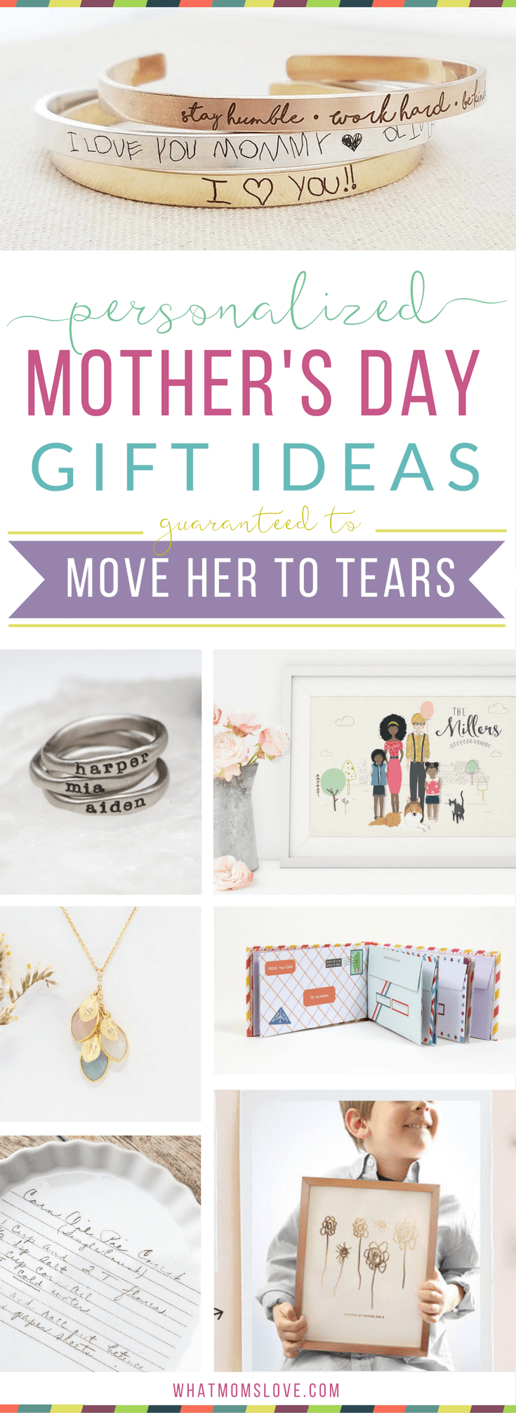 Unique personalized gift ideas for Mother's Day | Meaningful custom gifts for mom, nana or grandma from you, your kids (toddlers to teens) or grandkids. Buy her something she'll fall in love with this year - ideas for custom jewelry, portraits, kitchen, home and decor presents.