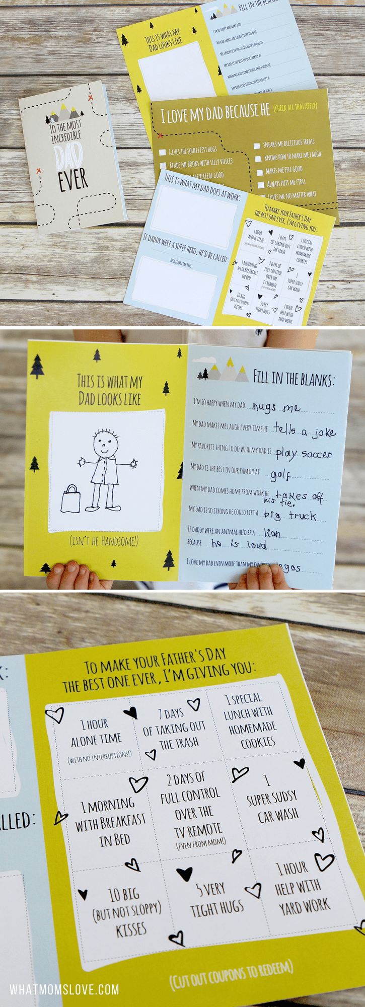 Free Printable Fathers Day Card | All About Dad or Grandpa Book for kids to make - includes fun questionnaire, coupons for dad, and space to draw and color. The perfect DIY homemade card - super easy!