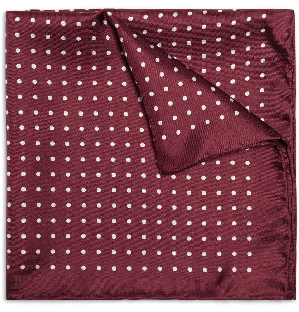 Drakes Silk Polka Dot pocket square
