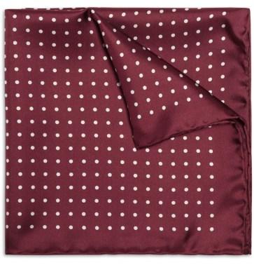 Drakes Silk Polka Dot pocket square